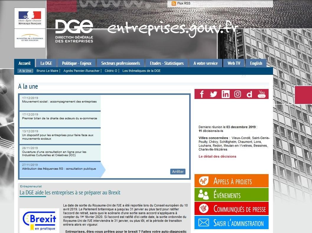 Le site entreprises.gouv.fr en décembre 2019