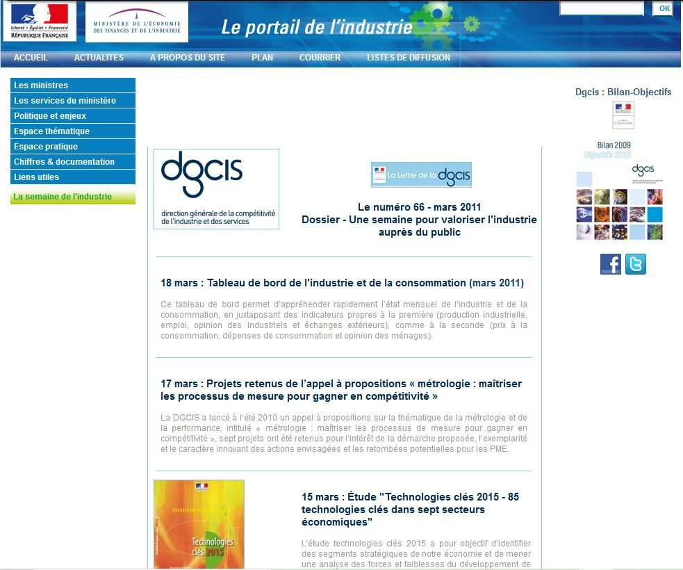 Le site industrie.gouv.fr en mars 2011