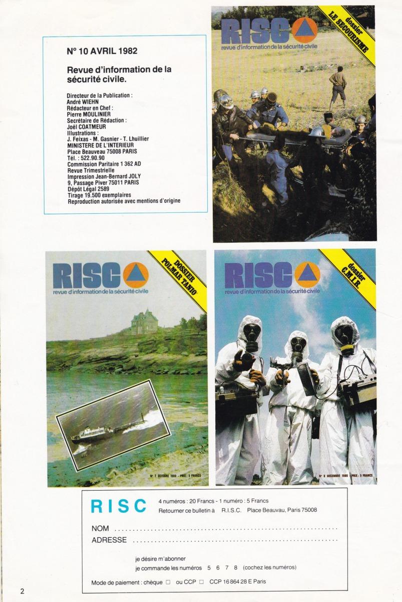 La Revue d'information de la Protection civile (RISC) éditée par le Ministère de l'Intérieur (avril 1982)